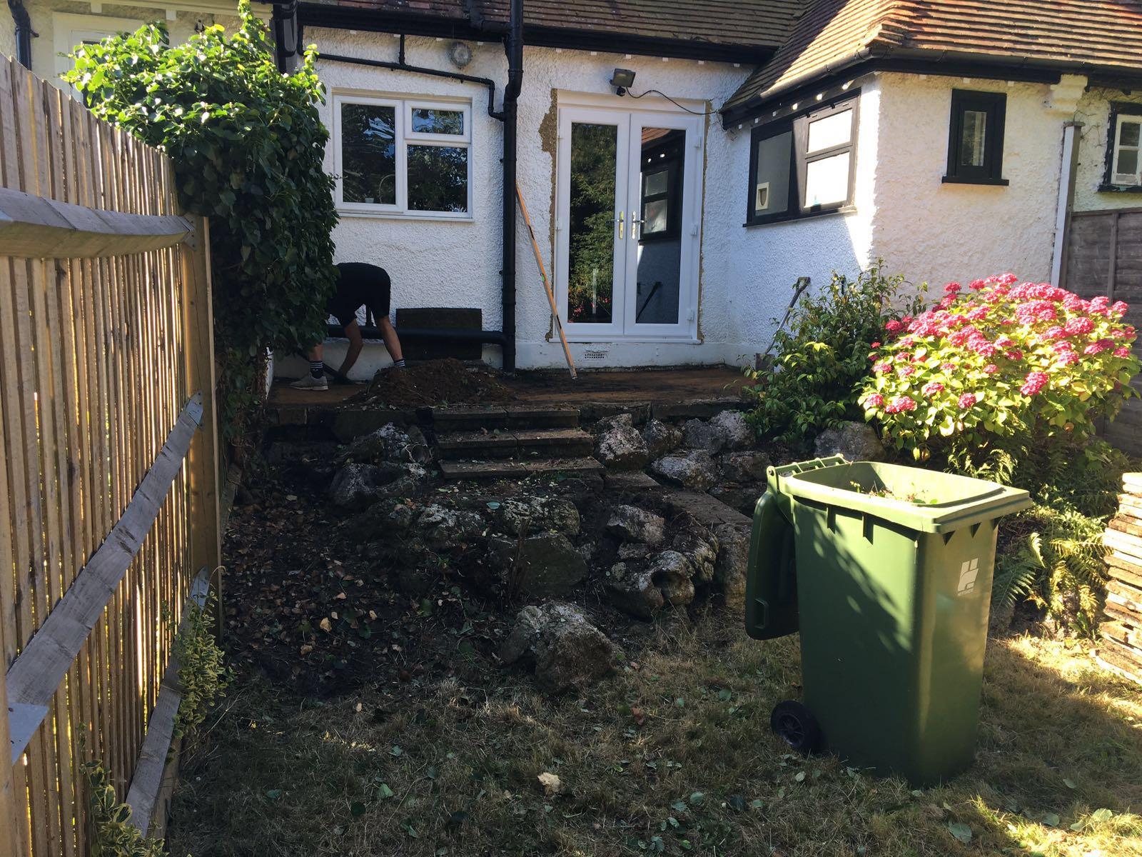 Limestone patio and steps in Bushey