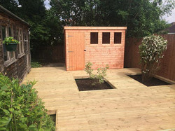 Decked Area With Built In Planters