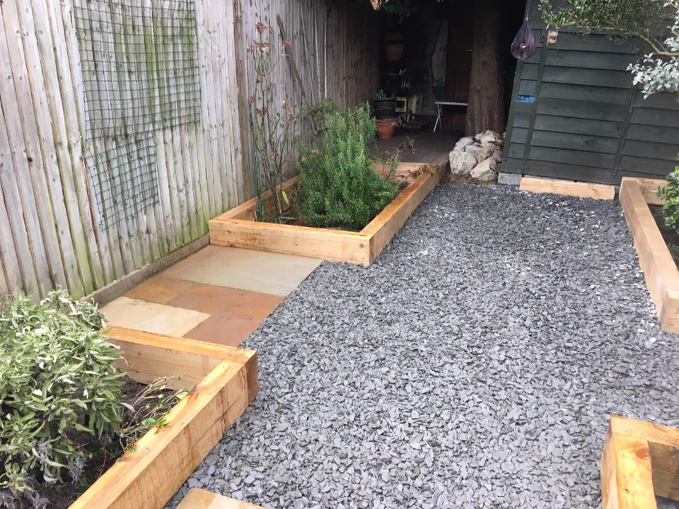 Raised Sleeper Flower Beds & Paving