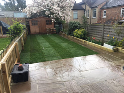 Newly laid lawn & sleepers in St Alb