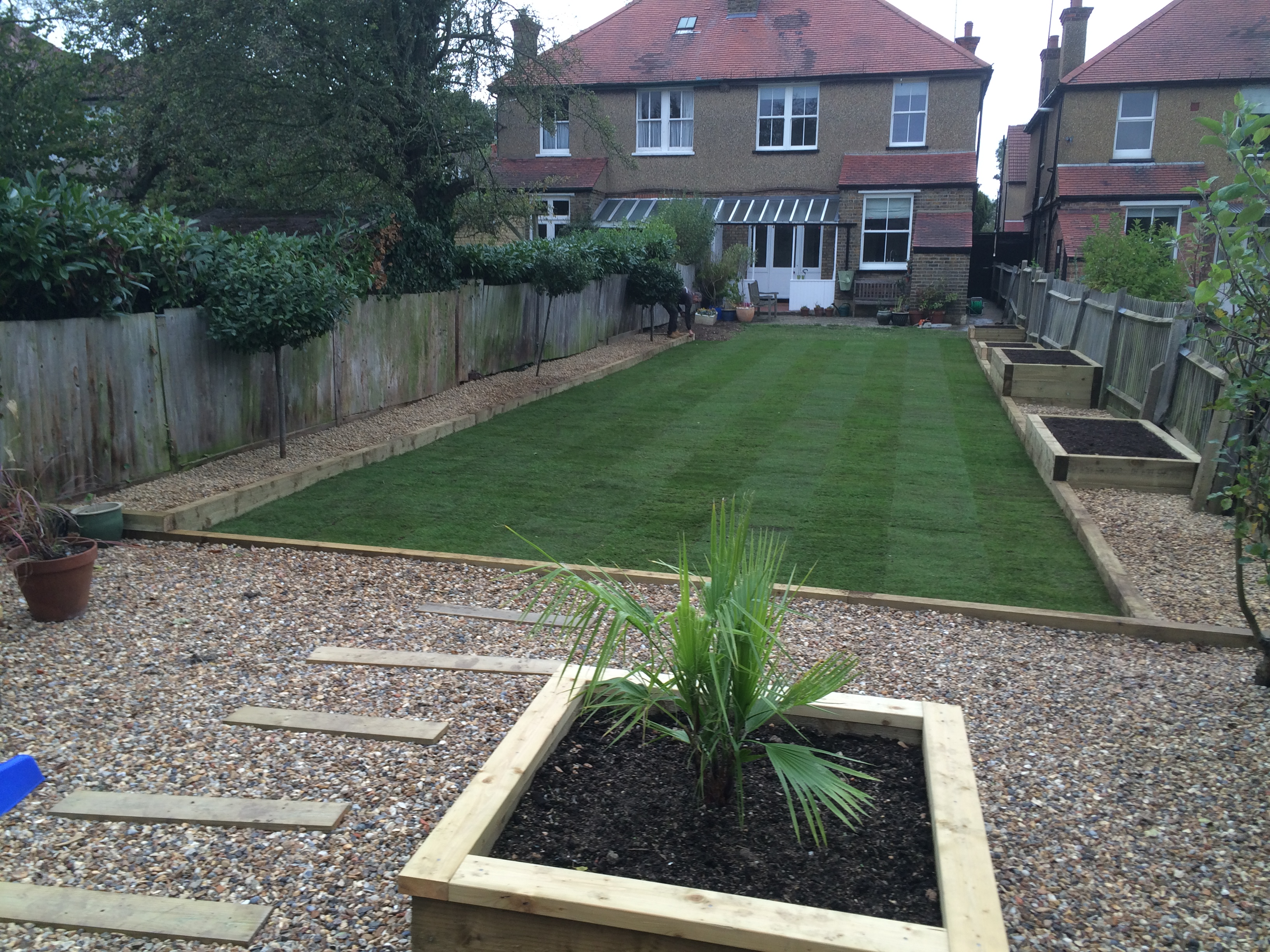 New Lawn and planters
