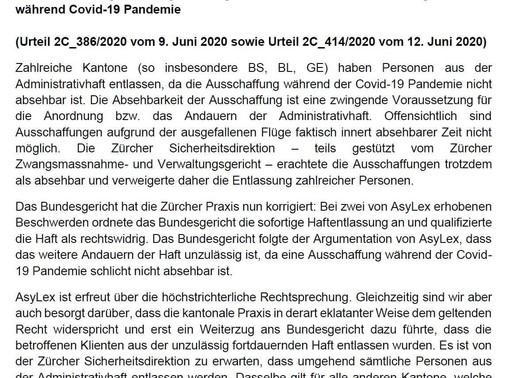 Erfolg für AsyLex vor dem Bundesgericht: Ausschaffungshaft während der Covid-19 Pandemie ist unrecht