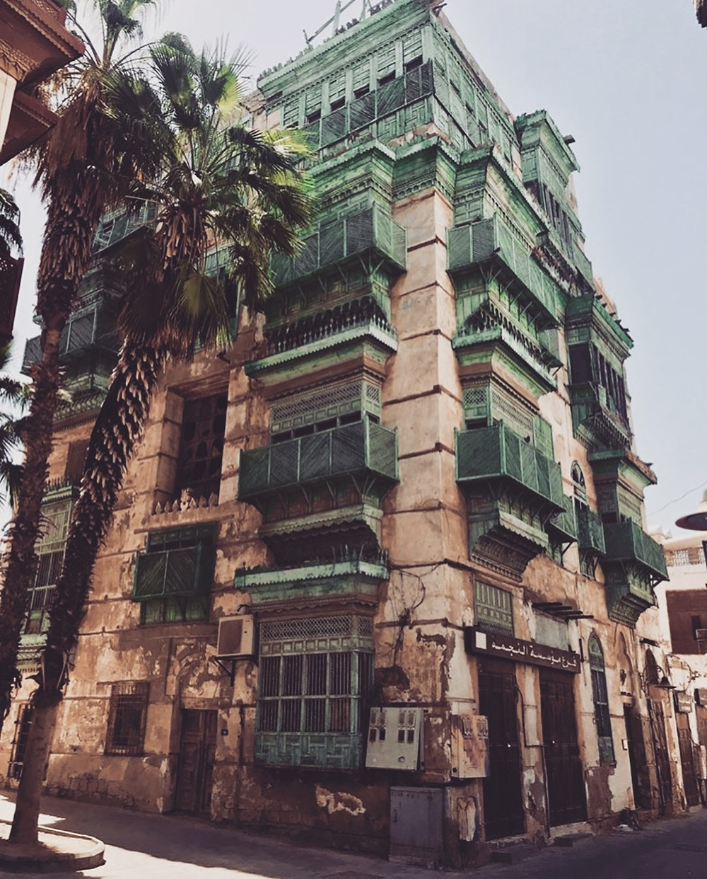 A building facade in Old Town Jeddah, in Saudi Arabia