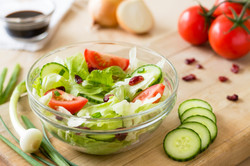 Salad with vegetables in daylight