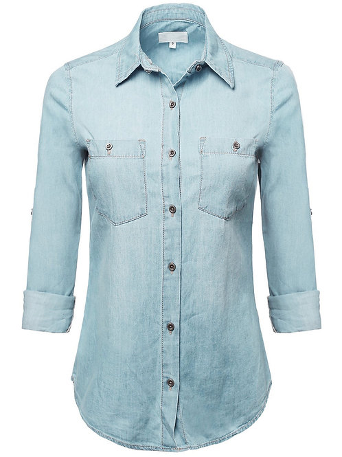 Ladies' Light Long Sleeve Chambray