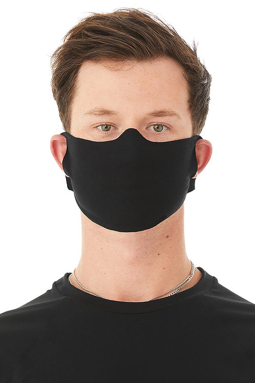 Lightweight Fabric Face Cover - Black - Corvid-19 - Coronavirus - Front View