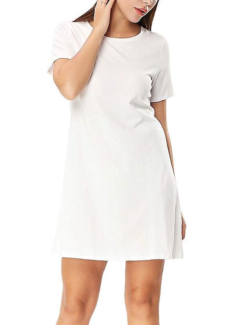 Crew Neck Dress - White