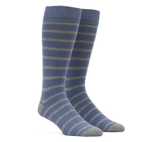 Trad Stripe Socks - Slate Blue