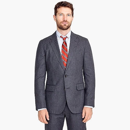 Slim-fit Unstructured Suit Jacket in Wool-Cotton Twill