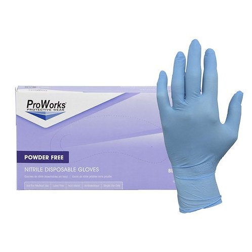 Powder-Free Nitrile Disposable Gloves, Quantity 1,000 - Blue, 3-mil