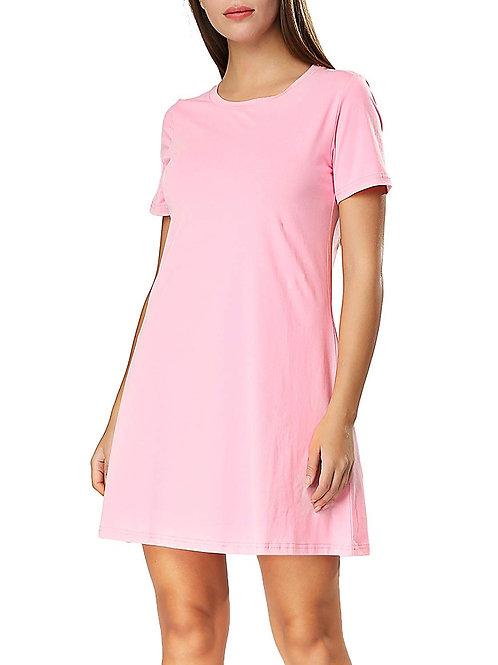 Crew Neck Dress - Pink