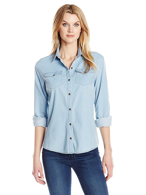 Ladies' Denim Light Wash Woven Shirt