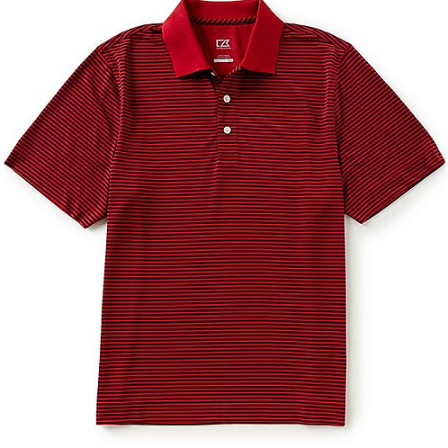 Gents Drytec Horizontal Stripe Polo - Cardinal Red/Blue