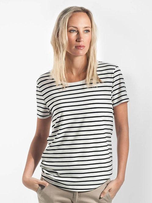 Riviera Striped T-Shirt - Vanilla & Black