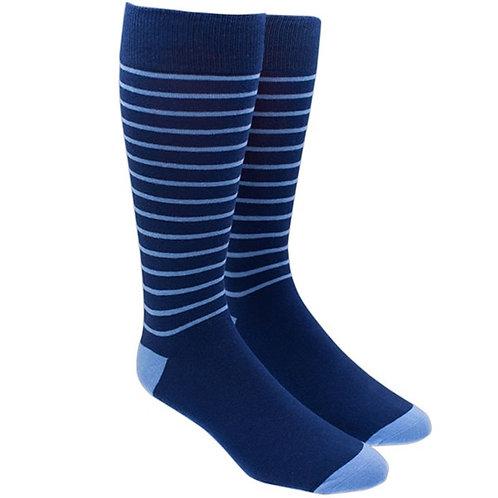 Woodland Stripe Socks - Navy/Light Blue