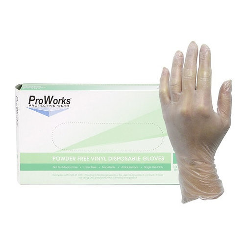 Powder-Free Vinyl Disposable Gloves, Quantity 1,000 - Clear, 3-mil