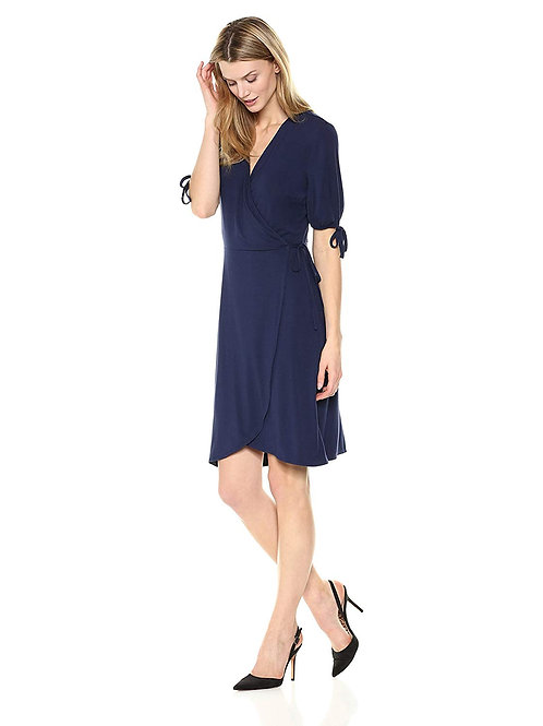 Tie Sleeve Dress - Peacoat
