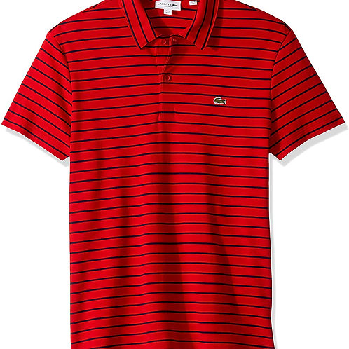 Gents Oima Interlock Striped Polo - Tokyo Red/Navy