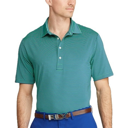 Gents Classic Fit Performance Polo - Green Stripe