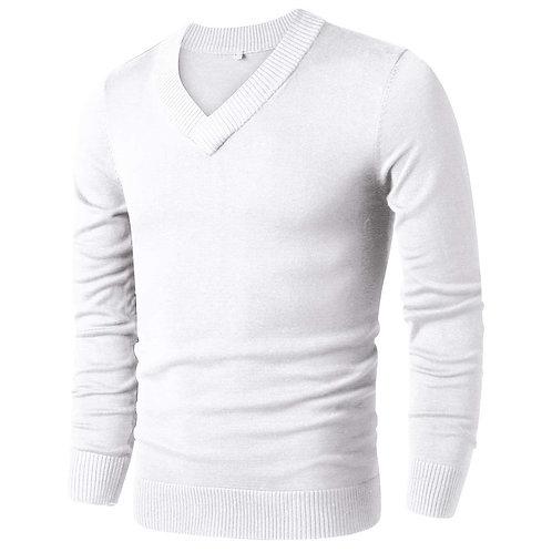 Knitted V-Neck Sweater - White
