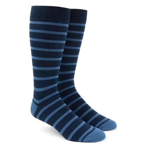 Trad Stripe Socks - Light Blue