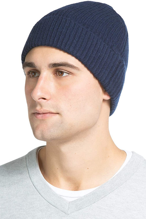 100% Pure Cashmere Ribbed Cuffed Hat - Navy