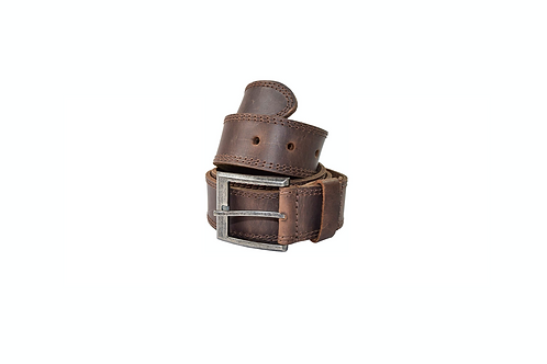 Two Row Stitch Leather Belt - Bourbon Brown