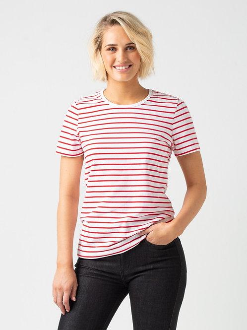 Riviera Striped T-Shirt - White & Red