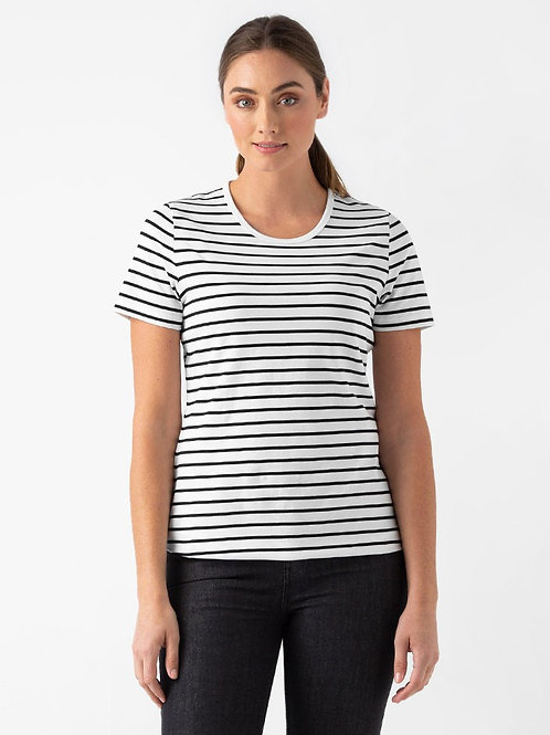 Riviera Striped T-Shirt - Vanilla/Black