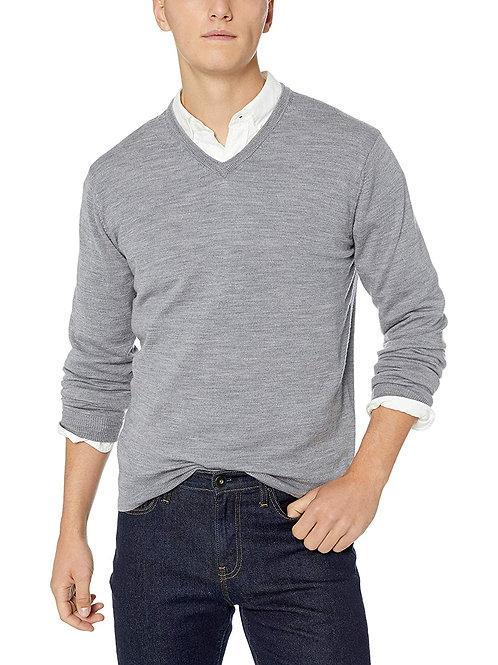 Merino Wool V-Neck Sweater - Heather Grey