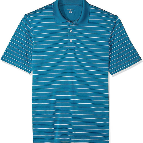 Gents Quick-Dry Golf Polo - Dark Teal Stripe