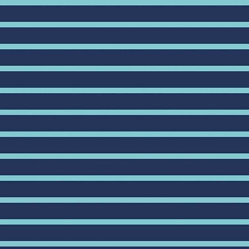 Governors Island Striped T-Shirt - Aqua/Navy
