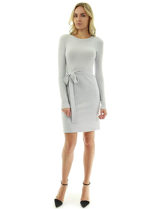 Tie Sweater Dress - Light Gray
