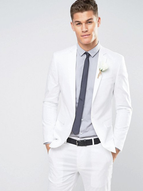 Skinny Suit Jacket in Stretch Cotton - White