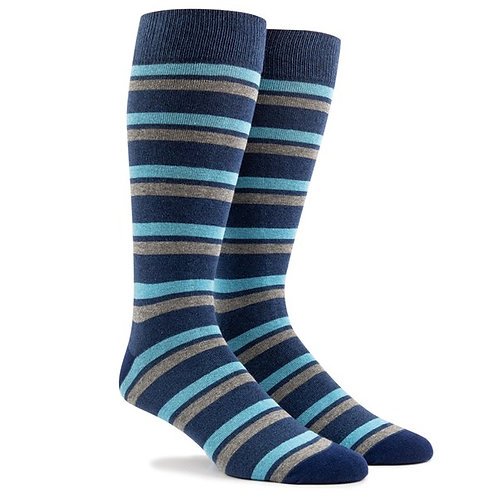 Contrast Striped Socks - Navy White