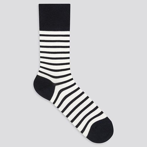 Naval-Striped Socks - White Navy