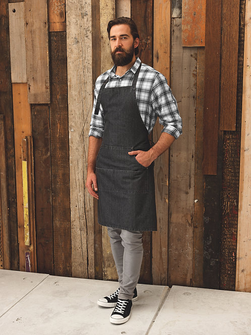 Stitch Denim Bib Apron - Black Denim