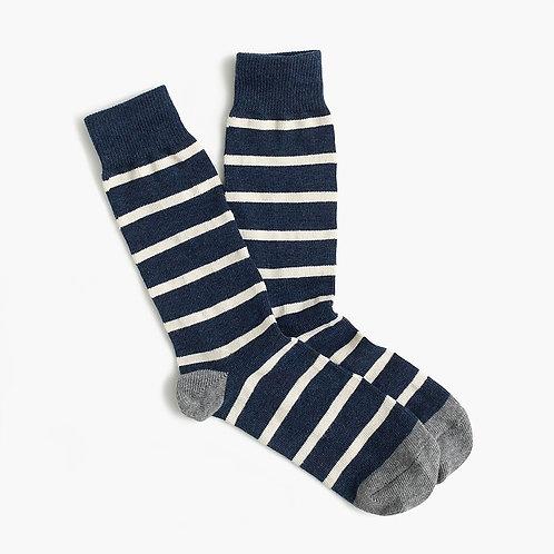 Naval-Striped Socks - Navy White