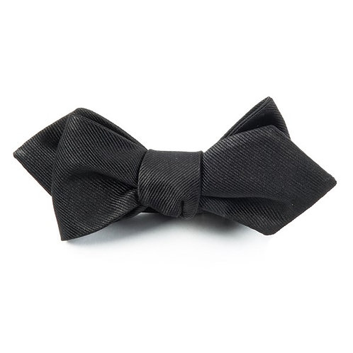 Diamond Tip Grosgrain Bow Tie - Black