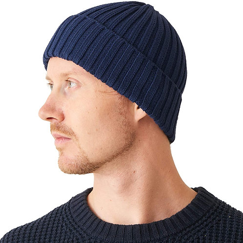 100% Cotton Ribbed Beanie - Navy