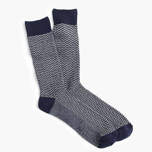 Zigzag Socks - Navy Grey