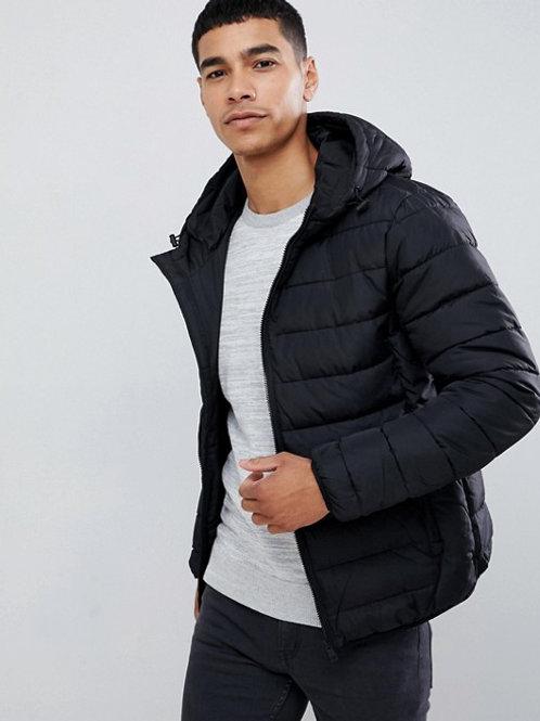Hooded Puffer Jacket - Black