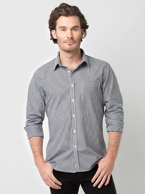 Max Check Long Sleeve Shirt - Black