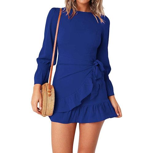 Ruffles Wrap Dress - Royal Blue