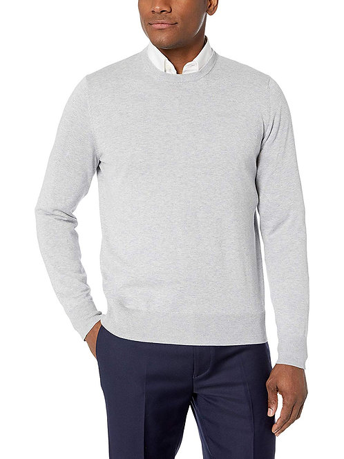 Supima Cotton Lightweight Crewneck Sweater - Grey
