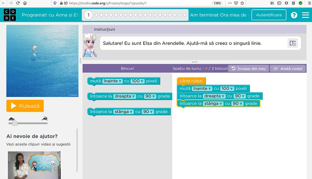 Pagină de joc Programați cu Ana și Elsa