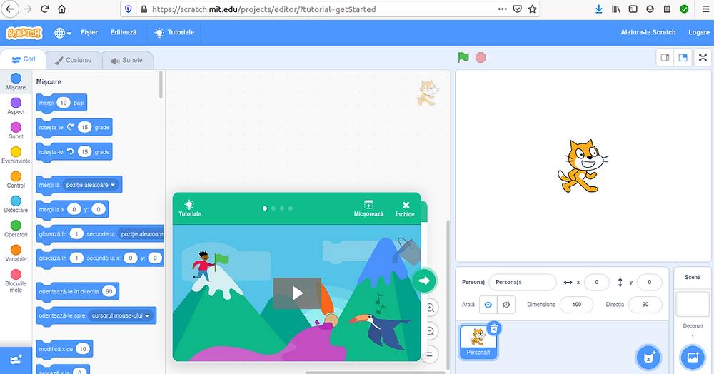pagină de joc Scratch