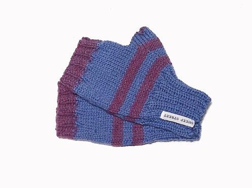 Blue and Purple Short Fingerless Gloves