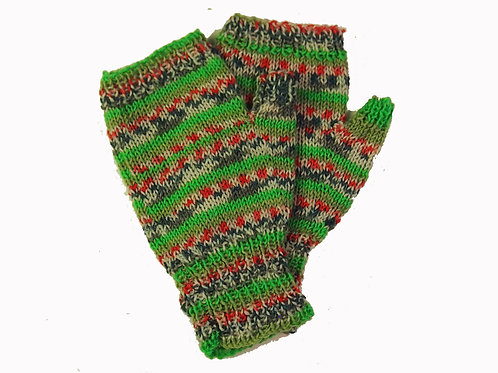 Green, Red and Blue Fingerless Gloves