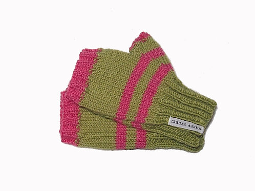 Green and Pink Short Fingerless Gloves